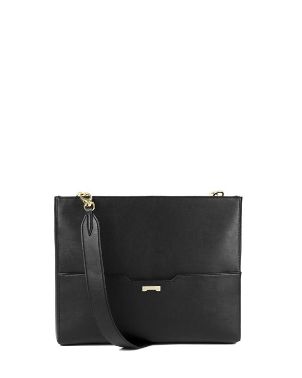 Black laptop bag in sustainable vegan leather for women