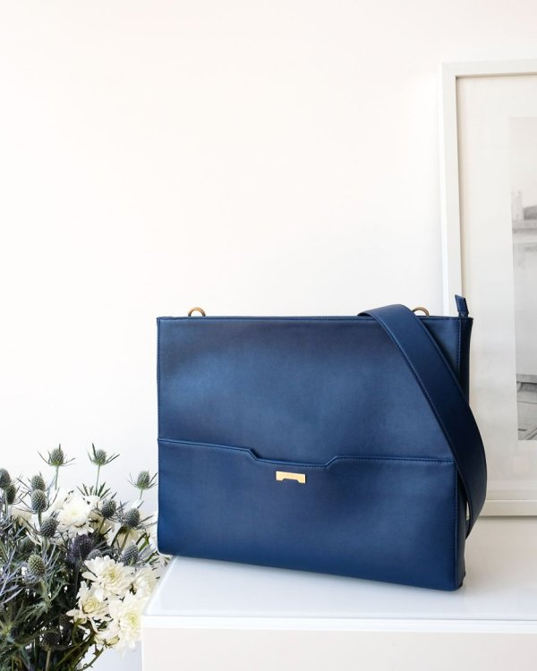 dark blue vegan laptop bag from Jenah St.