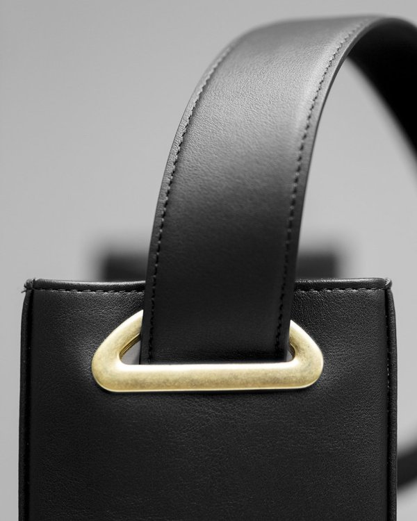 Black Bucket bag in luxury sustainable vegan leather