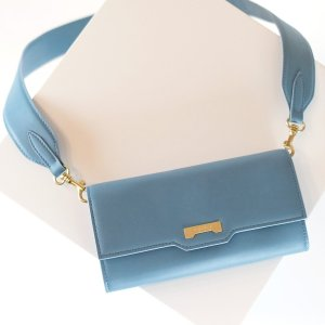 Crossbody light blue vegan leather mini handbag