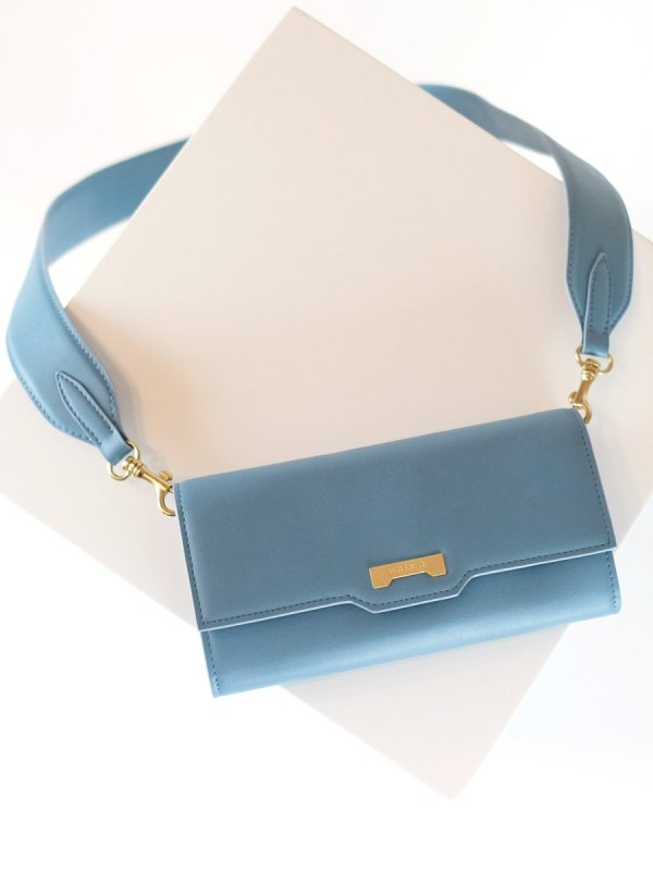 light blue vegan wallet from Jenah St. with strap