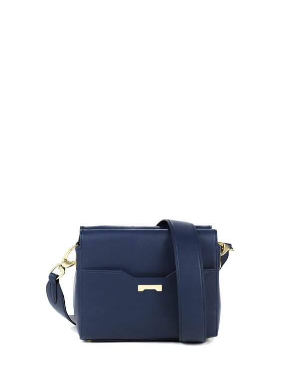 Crossbody pouch in dark blue sustainable vegan leather