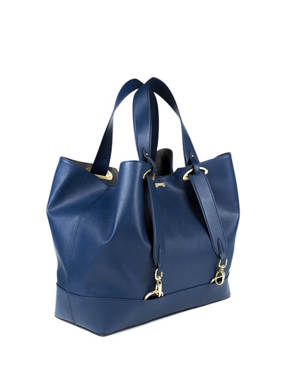Oversized dark blue ecofriendly vegan leather handbag