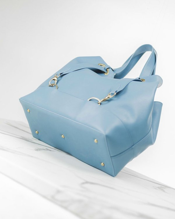 Pastel blue ecofriendly italian vegan leather handbag
