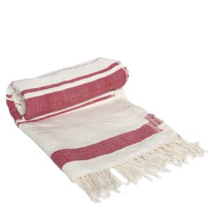 Handmade red and white cotton beach towel from Ethiopia by Sabahar