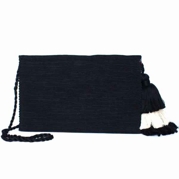 back view black abury cotton clutch bag with tassel