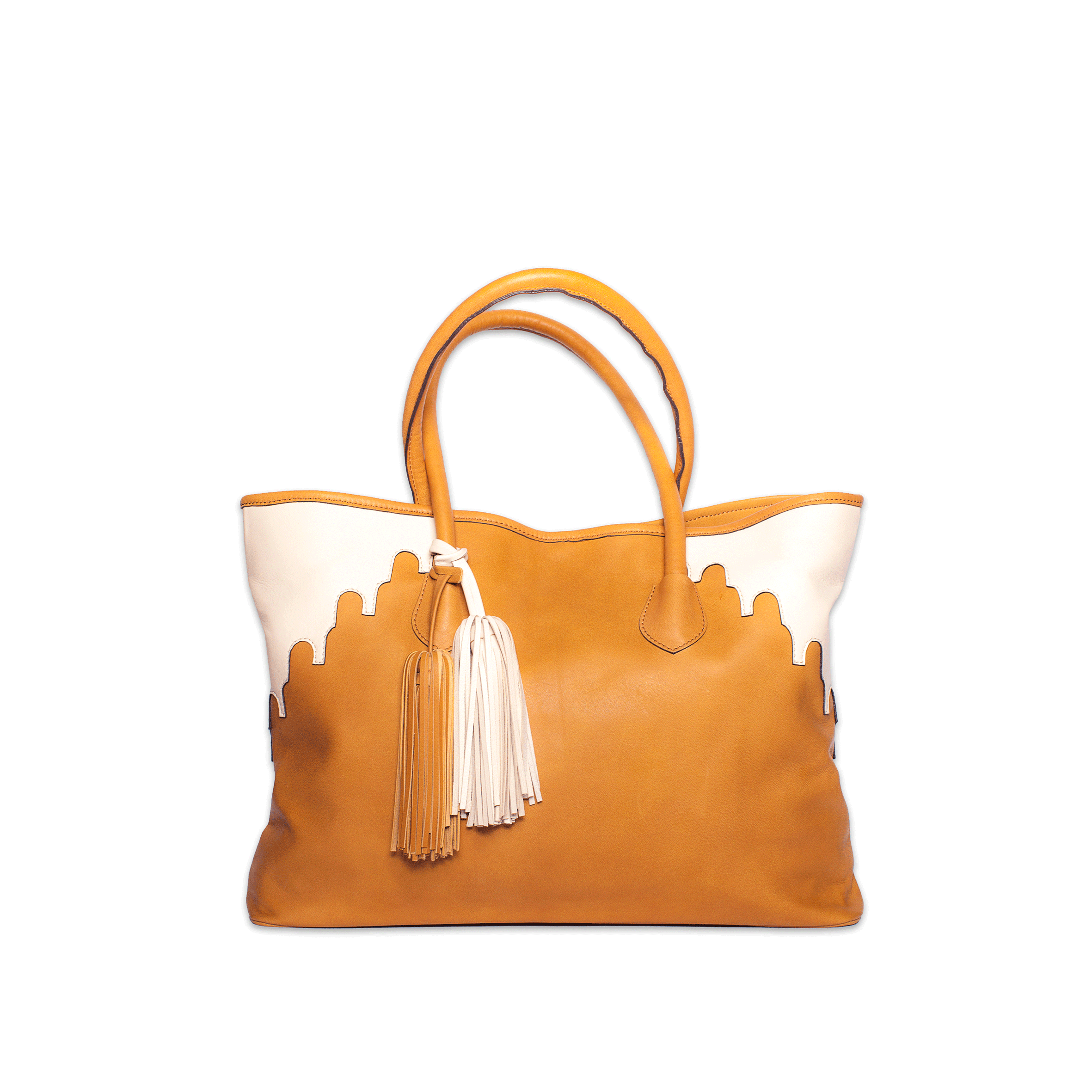 Rabbia Camel Leather Tote Bag front view