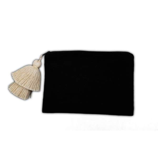 Black and White Cotton Pouch with White Tassel from Peru
