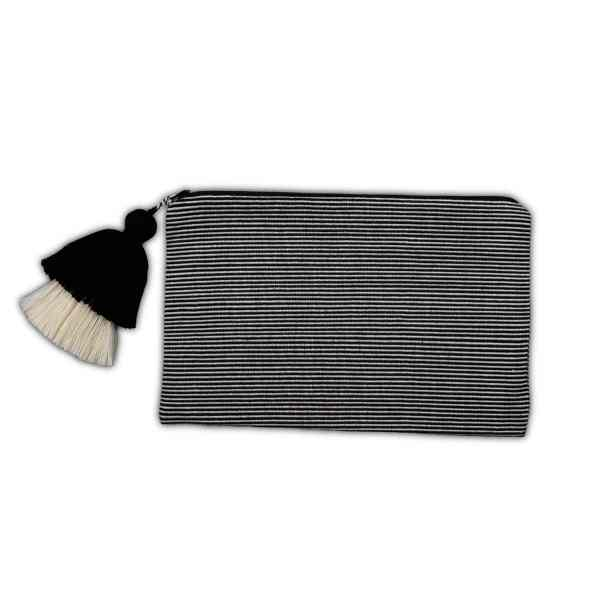 Black and White Cotton Pouch with Small Stripes from Peru