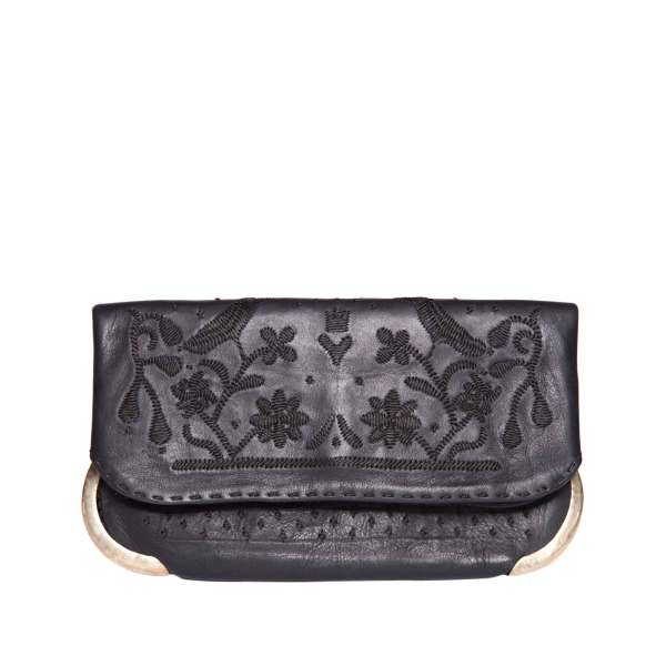 front view sustainable abury black lovebirds clutch bag