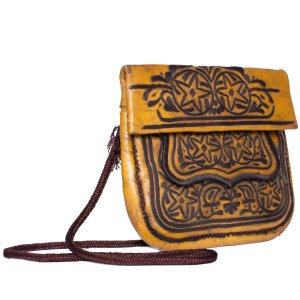 side view brown vintage leather shoulder bag