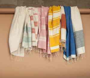Colourful Cotton Beach Towels handmade quality from Ethiopia hanging