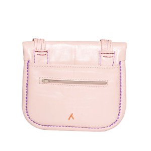 Back view Embroidered Triangle Leather Berber Bag in Light Rosé by ABURY