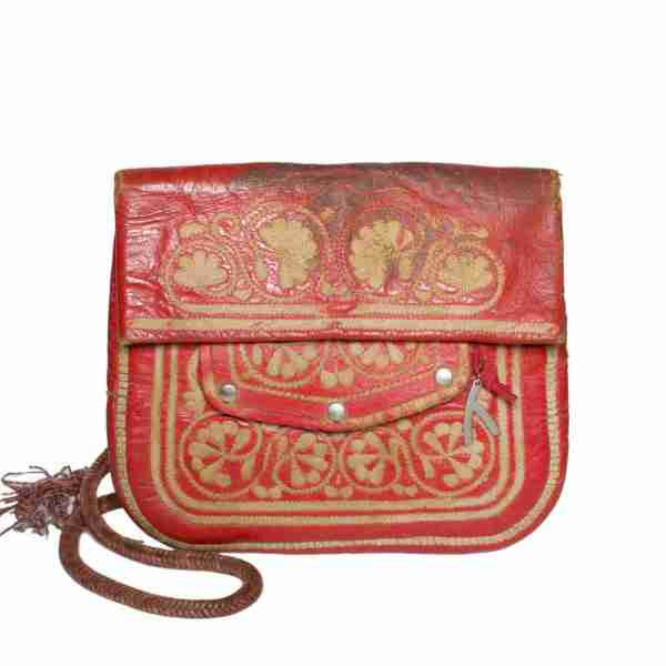 Front view Vintage Leather Berber Bag Toufik by ABURY