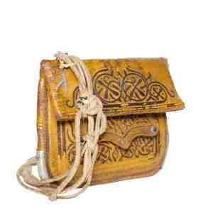 Side view Vintage Leather Berber Bag Hassan by ABURY