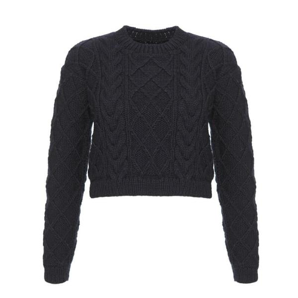 Hand-Knitted Navy Blue Wool Sweater- Winter and Autumn Accessories - ABURY Collection Ecuador handmade
