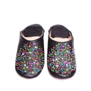 front side black sequinned abury leather babouche leather slippers