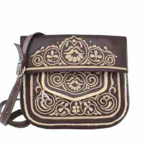 front view of brown and beige embroidered ABURY Leather Berber Shoulder Bag