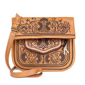 Camel and Chocolate Leather Berber Bag fair-fashion product shot front
