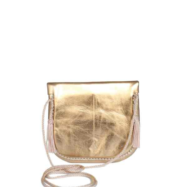 back view of gold embroidered ABURY Leather Mini Berber Shoulder Bag