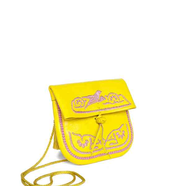 side view of yellow and rosé embroidered ABURY Leather Mini Berber Shoulder Bag