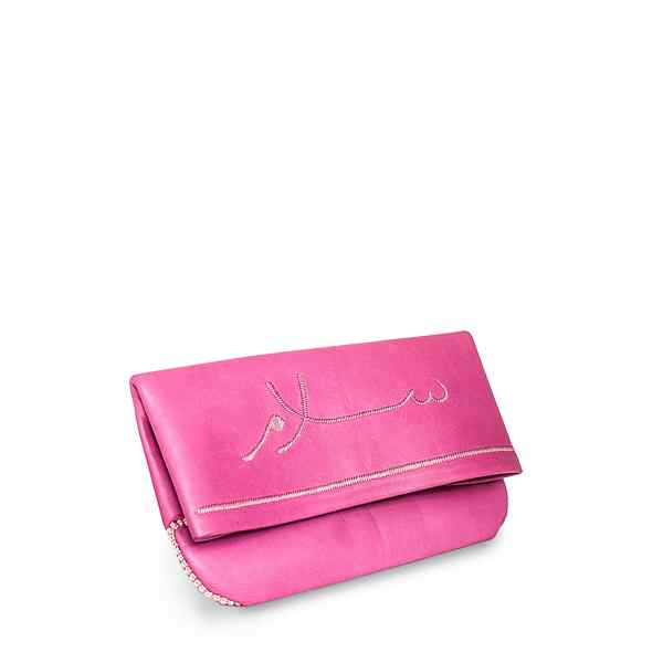 side view pink leather abury clutch bag with salam embroidery