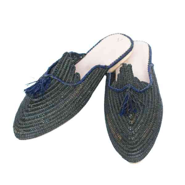 front side abury dark green raffia summer slippers with tassel