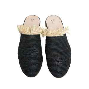 front side abury black raffia summer slippers with fringes