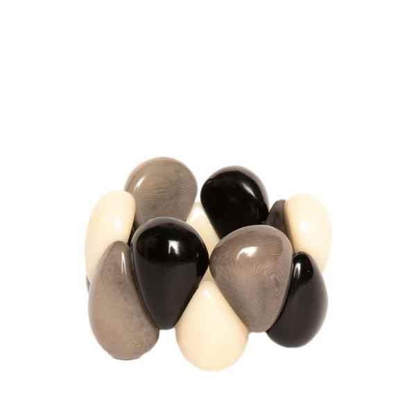 Handmade Tagua Bracelet in Black, Grey, Ivory