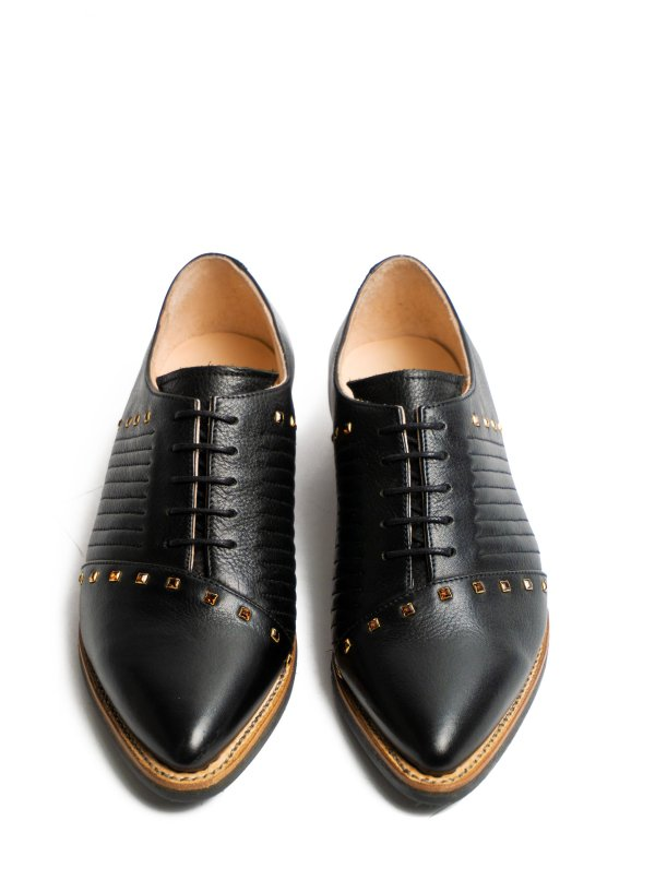 Goodyear welted, black coloured sustainable flat shoe with Swarovski Crystals by ALINASCHUERFELD