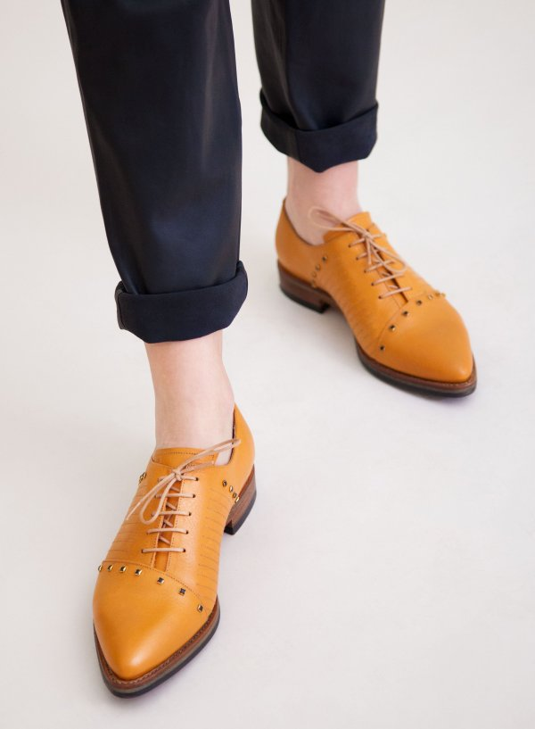 Goodyear welted, orange coloured sustainable flat shoe with Swarovski Crystals by ALINASCHUERFELD