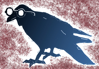 The Intelligent Scavenger graphic (a raven with a pair of specs)