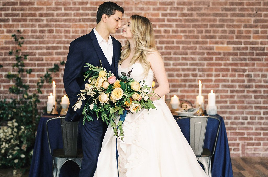 Peach And Blue Industrial Wedding Styled Shoot Featured On Ruffled Blog!
