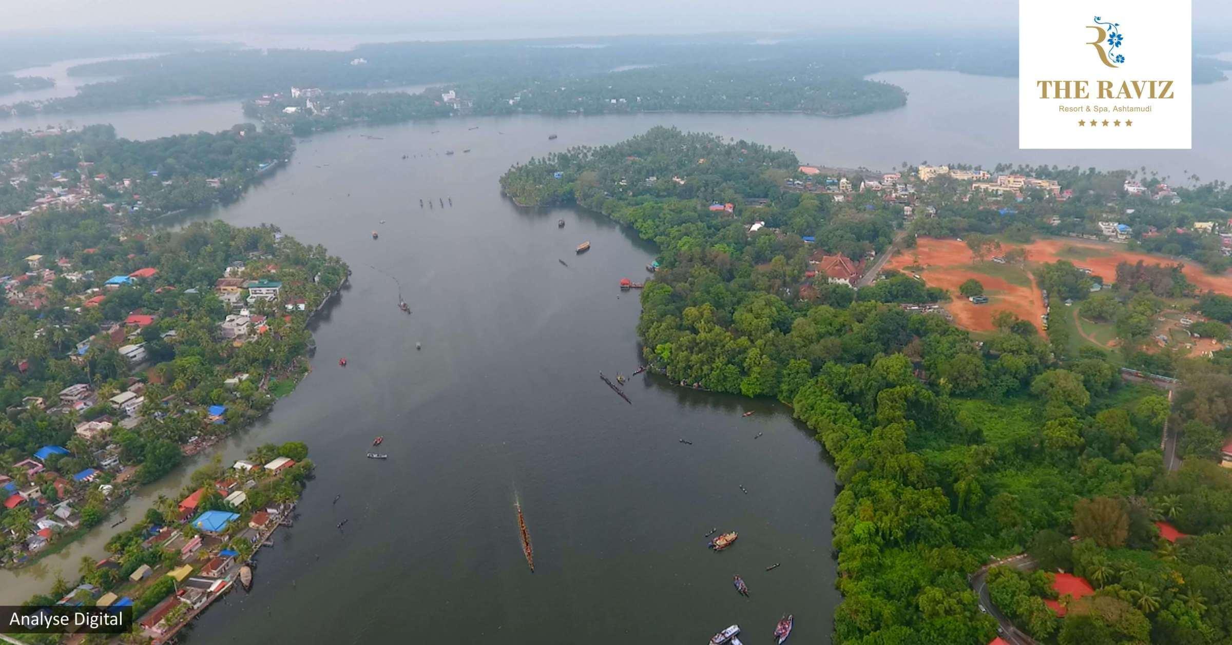 ashtamudi lake bird view