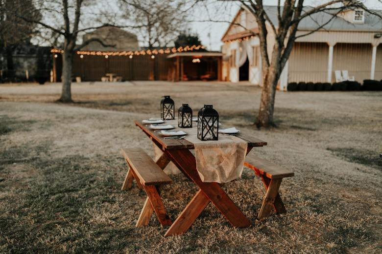 Outdoor wedding venue with picnic table