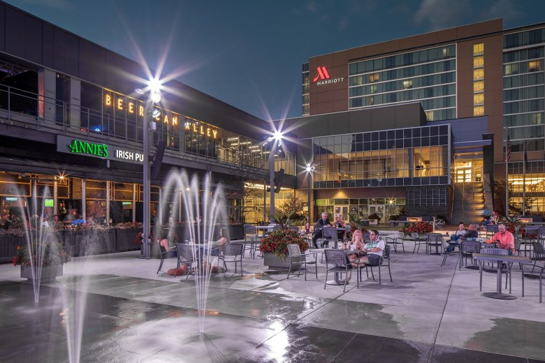 The Capitol District seating area in downtown Omaha NE