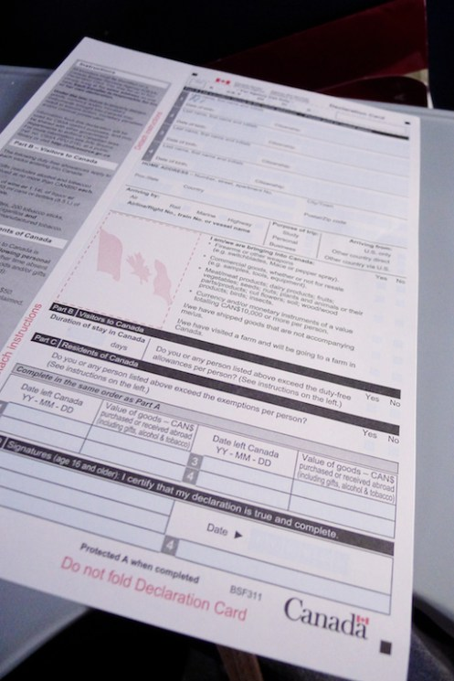 Canadian Customs and Immigration form, Travel to Nova Scotia