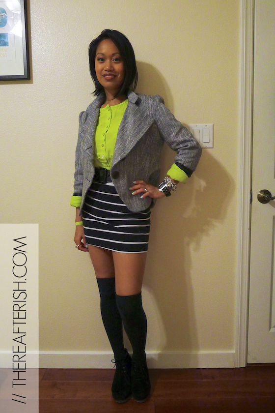 thereafterish, ootd, stripes and neon, neon and stripes, neon yellow, stripe mini skirt thigh high