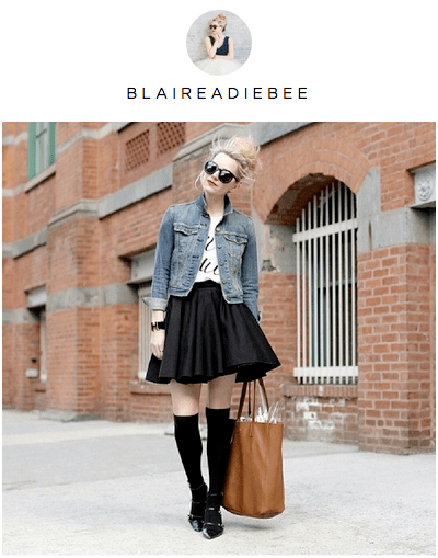 Picture of street style snap of girl in denim jacket and black skirt.