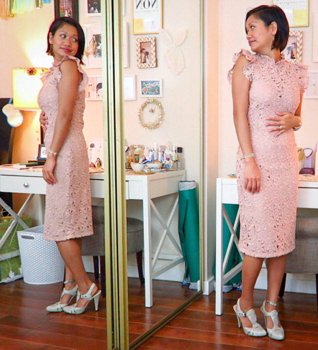 thereafterish, Zara & Revolve Clothing haul, Asian woman wearing nude pink lace midi dress