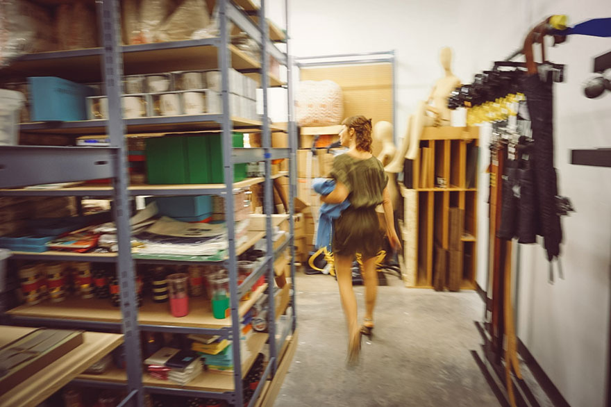 thereafterish x the mermaid's Mirror, Nadia Fairlamb, Artist and sculptor at Nordstrom Hawaii Gala, walking in stock room