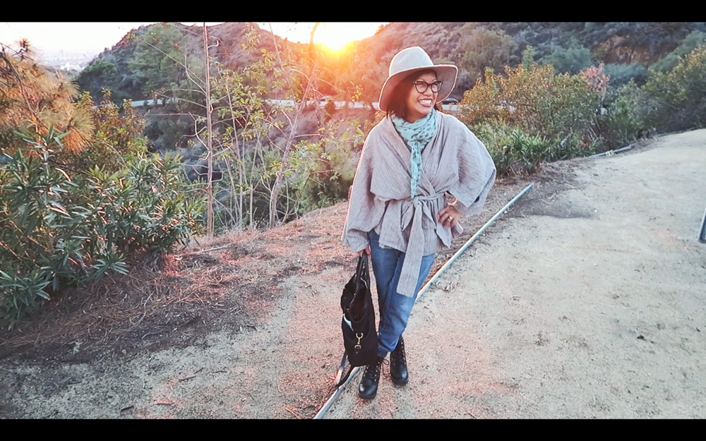 thereafterish California Diaries 06 lost vlog thumbnail with sunset behind hills and girl outfit of the day