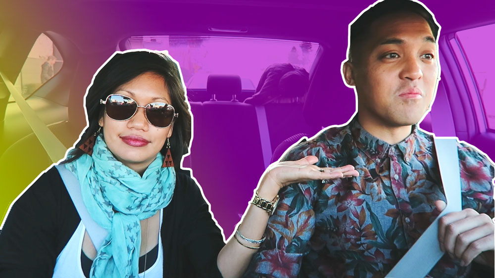 thereafterish California Diaries 06 lost vlog thumbnail with Asian woman and man posing and with neon gradient background