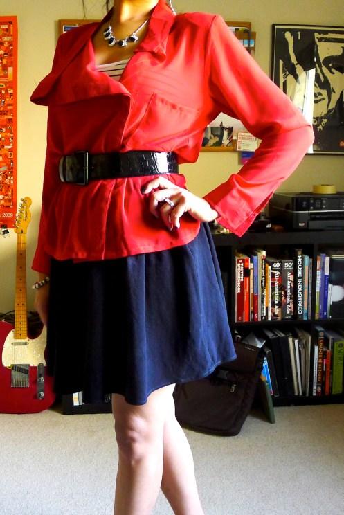 Red Chiffon drape blouse, Destrucked.com