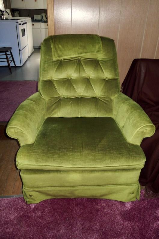 Cape Breton, Judique, Old Farm, Antique Velvet Arm Chair