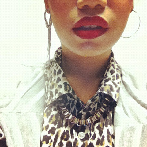 How to Wear Mixed Prints, Leopard With Stripes, Ruby Woo Mac Red Lipstick