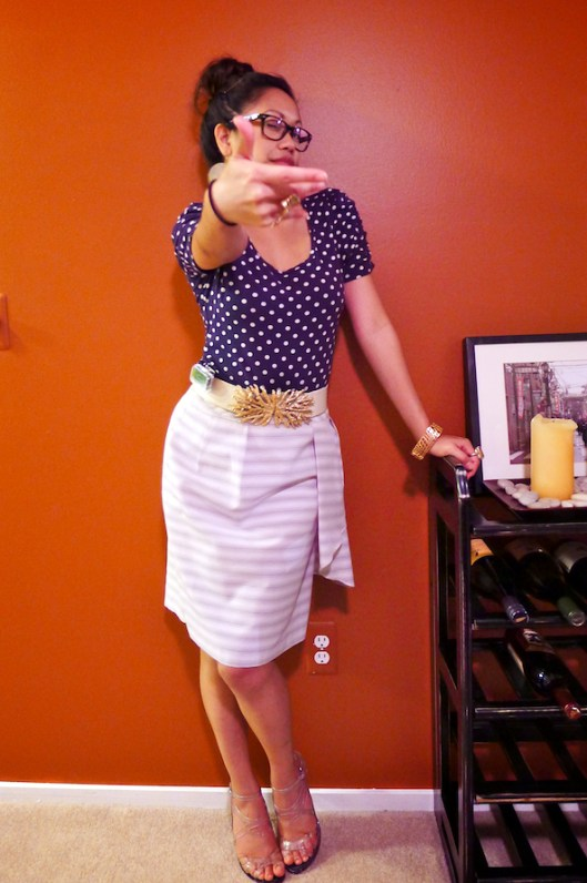 How to Wear Mixed Prints, Polka Dots with Stripes, OOTD, Clear Stilettos, Jean Paul Gaultier Melissa Shoes
