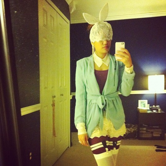Lady Gaga Lace Bunny Ears, White Rabbit Halloween Costume