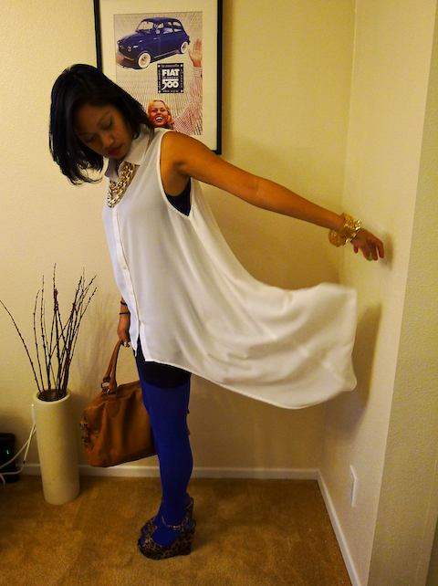 thereafterish, OOTD, snug camisoles, asymmetrical tunic, HRH Collection, HRH Cuff Necklace, blue tights