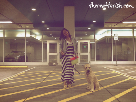 thereafterish, ootd, ella moss, striped maxi dress, hawaii street style, wheaten terrier